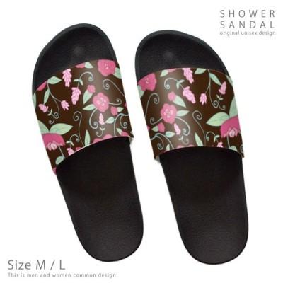 シャワーサンダル 夏 サマー アウトドア ブランド デザイナー コンフォートサンダル リゾート ボタニカル 植物 花柄 フラワー ブラウン ピンク