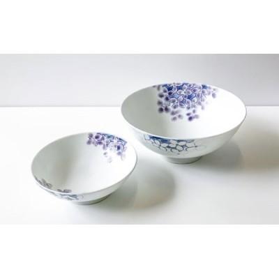 A60-23 有田焼 聡窯・辻聡彦作 深鉢「紫陽花」大小セット