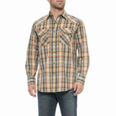 ペンドルトン シャツ Frontier Western Shirt - Snap Front, Long Sleeve Orange/Light Blue Plaid