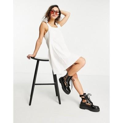 トップショップ Topshop レディース ワンピース ミニ丈 ワンピース・ドレス poplin pinafore mini dress in white ホワイト