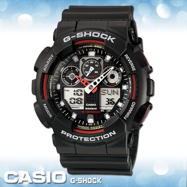 CASIO 卡西歐 手錶專賣 G-SHOCK GA-100-1A4 50MM大錶徑 粗曠機械感 雙顯錶