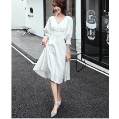 ウエディングドレス パーティードレス 袖あり ミモレ丈ドレス 大きいサイズ Aラインワンピース フォーマル 上品 大人 結婚式ドレス 発表