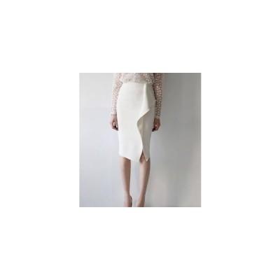 フリルが可愛いハイウエストスカート ひざ丈 無地 大人可愛い エレガント 春夏 お呼ばれや結婚式に SK-0112