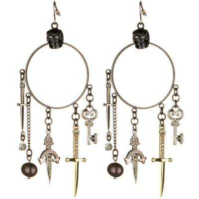 イヤリング ノワ Noir Pirates of the Caribbean Skull Multi Dagger Hoop Earrings