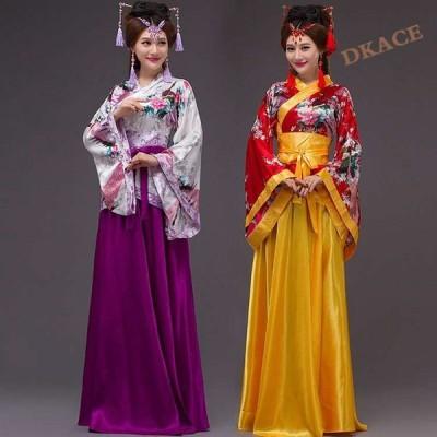 中国古代コスプレ舞台cosplay/唐装漢服/コスプレ衣装中華チャイナ風レディース/中華風撮影/演出服/振袖/引き裾5色 結婚式