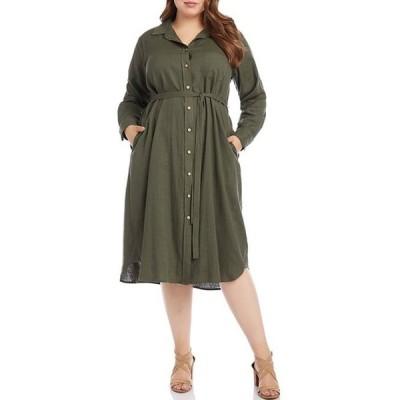 カレンケーン レディース ワンピース トップス Plus Size Long Sleeve Shirt Dress