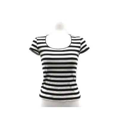 【中古】ボールジー BALLSEY トゥモローランド Tシャツ カットソー フレンチスリーブ ボーダー 38 M 白 ホワイト 黒 ブラック /KI レディース 【ベクトル 古着】
