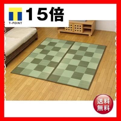 純国産 い草花ござ グリーン 江戸間6畳(約261×352cm)(裏:ソフトテック15mm)