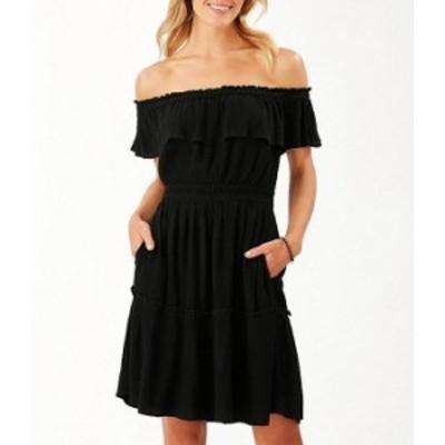 トッミーバハマ レディース ワンピース トップス Caicos Crinkle Gauze Off-The-Shoulder Cinched Waist Dress Black