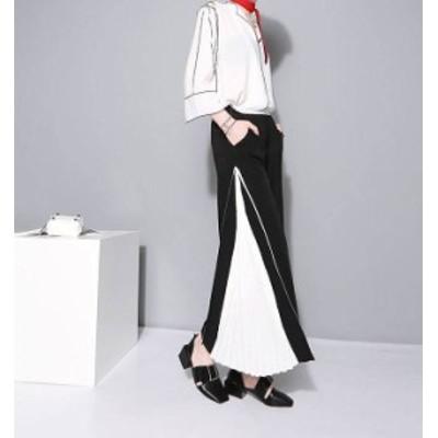 韓国 ファッション レディース ワイドパンツ ハイウエスト プリーツ 切り替え 大きいサイズ バイカラー きれいめ エレガント お呼ばれ