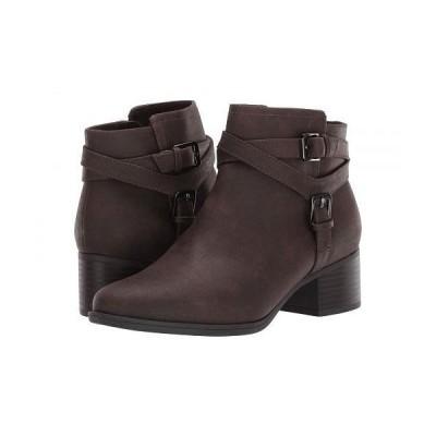 Naturalizer ナチュラライザー レディース 女性用 シューズ 靴 ブーツ アンクル ショートブーツ Kallista - Chocolate Tumbled Synthetic Leather