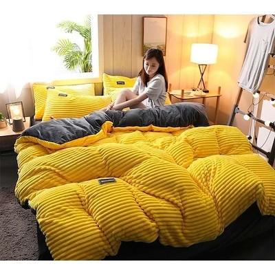 サンゴの绒の4つのセット寝具の4つのセット牛乳+毛の布団カバー寝具の4つのセット魔法の絨毯を厚くしてフランネルの4つのセット掛け布団カバーセット 北欧 冬用 フリース マイクロファイバー 無