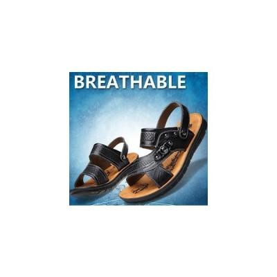 メンズサンダルビーチサンダルコンフォートおしゃれフラットソール夏向き革シューズ革靴プレゼントギフト普段使い実用的