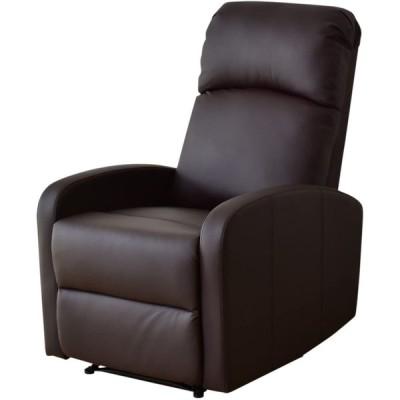 DORIS リクライニングチェア ソファー ひとり用 140度 オットマン一体型 肘掛け PUレザー ブラウン ウォルク