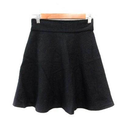【中古】ダブルクローゼット w closet wear inc. フレアスカート ミニ F 黒 ブラック /AU レディース