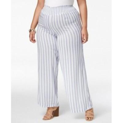 Gold ゴールド ファッション パンツ Planet Gold Womens Blue Size 2X Plus Smocked Striped Pants Stretch