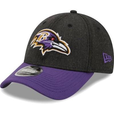 ニューエラ メンズ 帽子 アクセサリー New Era Men's Baltimore Ravens Black League 9Forty Adjustable Hat