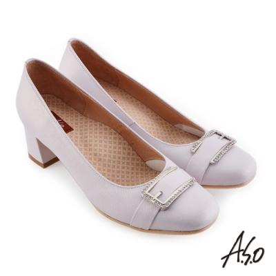 A.S.O 職場通勤 彈麗舒活精緻簡約鑽釦中跟鞋-淺紫