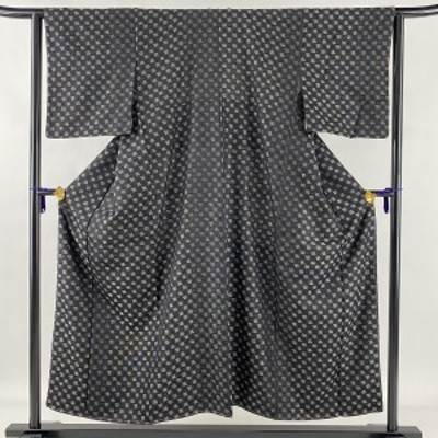 小紋 美品 名品 千鳥 黒灰 袷 身丈153cm 裄丈64cm M 正絹 中古
