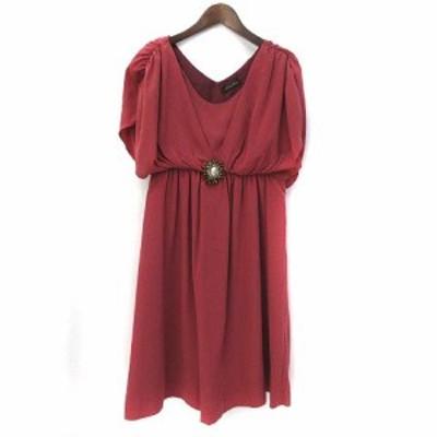 【中古】フレディ エミュ fredy emue ワンピース 38 M 赤 レッド フレンチスリーブ 半袖 ビジュー ドレス 美品 レディース