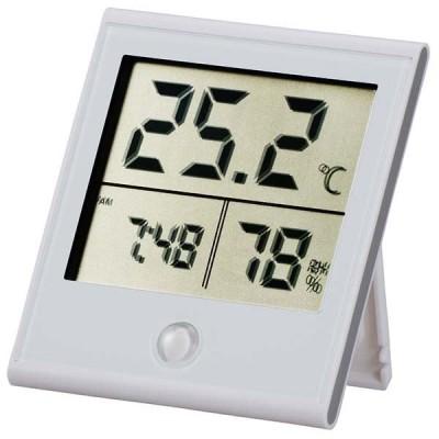 オーム電機 時計機能付き デジタル温湿度計 ホワイト TEM-210-W 08-0091