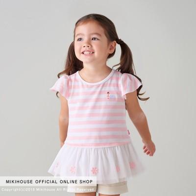 ミキハウス キッズ 【アウトレット】リーナちゃん チュール付きボーダー半袖Tシャツ【90cm ピンク】 女の子