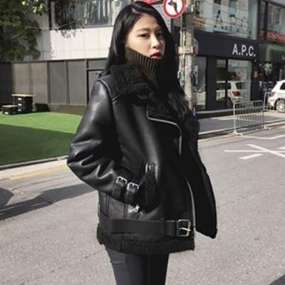 ボア ライダースジャケット 大きいサイズ フェイクレザー レディースアウター ミディアム カジュアル 秋冬 ブラック ブラックベルト有り