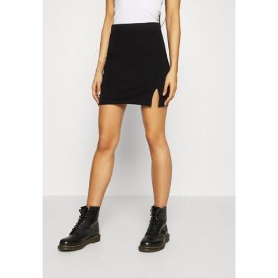 エブンアンドオッド スカート レディース ボトムス Basic mini skirt with slit - Mini skirt - black