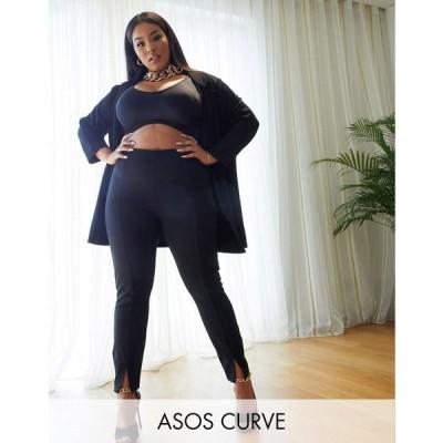 エイソス ASOS Curve レディース スキニー・スリム ボトムス・パンツ ASOS DESIGN Curve jersey slim split front suit trousers in black ブラック