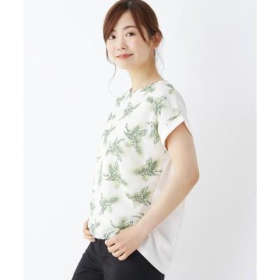 tシャツ Tシャツ 【M-L】リーフ柄シフォンプルオーバー