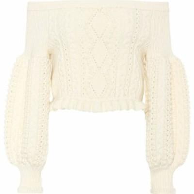 ヴァレンティノ Valentino レディース オフショルダー ニット・セーター トップス Cropped off-the-shoulder wool sweater
