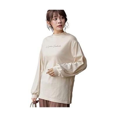 [アドティエ]スムースプチハイネックロゴプリントロングTシャツ カットソー ロンT スリットF10504014(アイボリー Free Size)