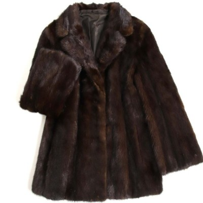 美品▼3 MINK ミンク 裏地花柄刺繍入り 本毛皮コート ダークブラウン 毛質艶やか・柔らか◎