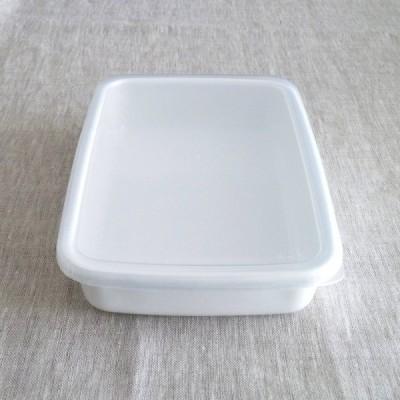 野田琺瑯 ホワイトシリーズ レクタンブル浅型シール蓋付S