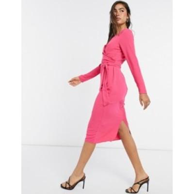 エイソス レディース ワンピース トップス ASOS DESIGN tie wrap front midi pencil dress in hot pink Hot pink