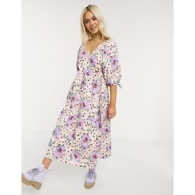 エイソス レディース ワンピース トップス ASOS DESIGN cotton poplin smock wrap midi dress in bright floral print Bright floral pri