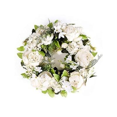 LASPERAL 牡丹の花輪 フロントドア用 15インチ 秋のリース 秋 ホワイトリース 玄関 結婚式 壁 屋内 屋外装飾