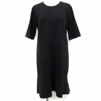 【中古】アングローバルショップ ワンピース ニット 裾フレア ひざ丈 五分袖 38 M 黒 ブラック /KT レディース