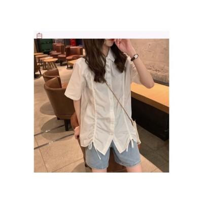 【送料無料】白 女性のシャツ デザイン 感 小 夏 ルース 半袖 何でも | 364331_A62727-3316803