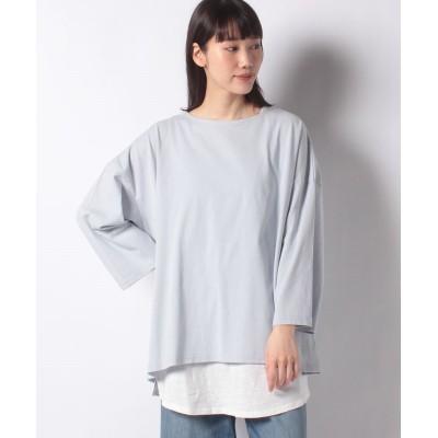 (Samansa Mos2/サマンサ モスモス)【SM2】レイヤードゆるロングTシャツセット/レディース サックス