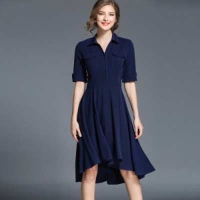 ワンピース 紺 ネイビー ブルー フィッシュテールスカート 膝丈 半袖 #0496