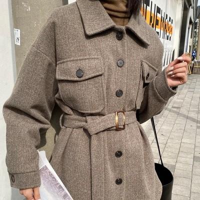 ジャケット CPO ショートコート ベルト付き 無地 ゆったり オーバーサイズ 大人可愛い カジュアル フェミニン こなれ感 秋冬 お出かけ デート