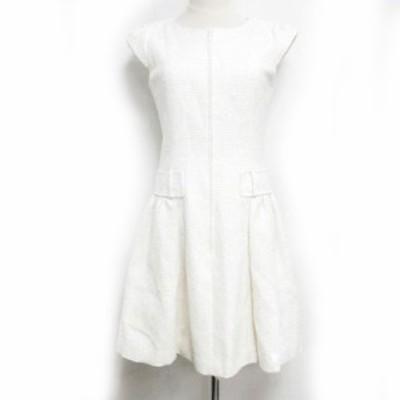 【中古】ルネ Rene 美品 ワンピース ドレス ツイード フレア フレンチスリーブ 白 36 約Sサイズ 6716330 メンズ