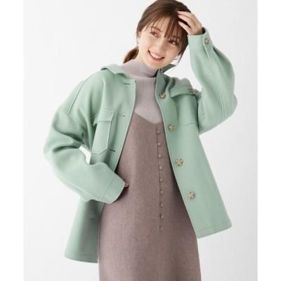 ステンカラーコート シンプルジャケット風ベルト付きコート