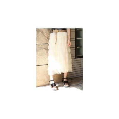 dazzlin チュール3段スカート アイボリー