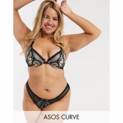 エイソス ASOS Curve レディース ショーツのみ インナー・下着 ASOS DESIGN Curve Brielle brazilian pant with boudoir embroidered lac