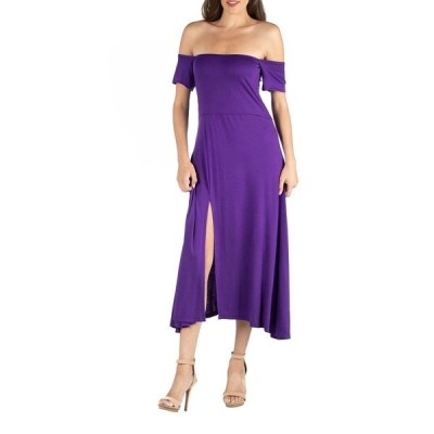 24セブンコンフォート ワンピース トップス レディース Off Shoulder Soft Flare Midi Dress with Side Slit Purple