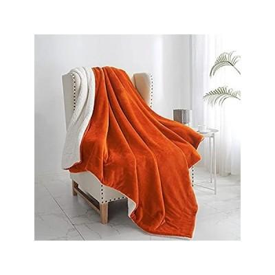 Walensee シェルパブランケット (スローサイズ 60インチx80インチ オレンジ) スーパーソフトフリースプラッシュブランケット ベッド、カウ