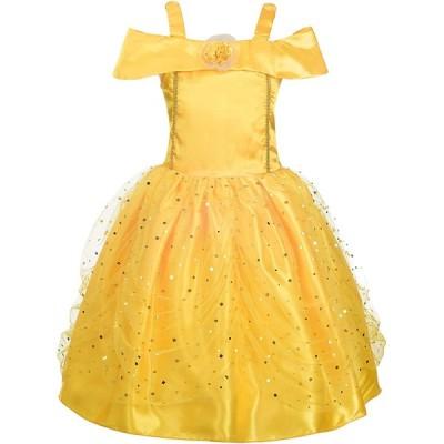 Dressy Daisy ガルズ プリンセス ドレス アップ コスチューム ゴールド イエロー ボールガウン ファンシー ハロウィーン 時か誕生日 パ