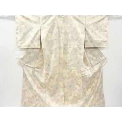 リサイクル 枝花模様織り出し十日町紬着物